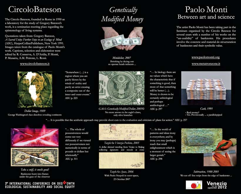 GENETICALLY MODIFIED MONEY, POSTER 2012 / CIRCOLO BATESON + PAOLO MONTI